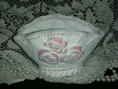 """TRINKET BOWL 7x5.5x4"""" ej pink roses hp shabby chic cottage hand painted TB1 #UNKOWN"""