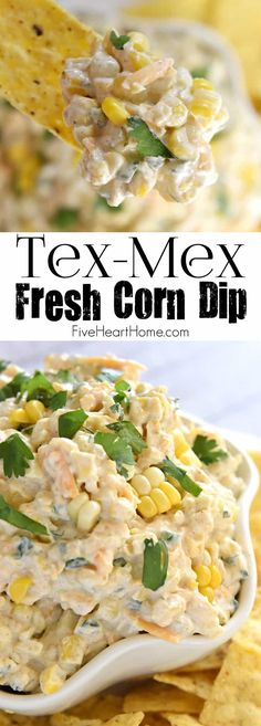 Tex-Mex Fresh Corn Dip ~ creamy, cheesy dip featuring fresh roasted corn, laced with cumin, a touch of jalapeño, and fresh cilantro.the perfect appetizer or snack for any summer cookout or get-toget (Vegan Dip Creamy) Snacks Für Party, Appetizers For Party, Easy Summer Appetizers, Summer Snacks, Appetizer Dips, Appetizer Recipes, Party Dip Recipes, Vegetarian Appetizers, Vegan Snacks