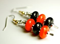 Halloween jewelry sale  handmade lampwork glass earrings for Halloween orange and black with silver glass dangle earrings