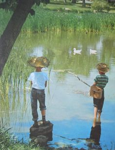 """Boys Fishing (1950s) - """"Looking at the quiet flowing stream rather than at the intrusive cellphone screen"""""""