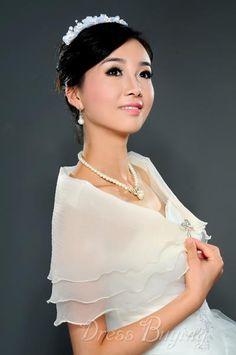 Glamorous Transparent Short Sleeve Gauze Wedding Wraps.