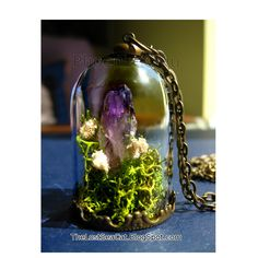 Terrarium jewelry Raw Amethyst pendant Crystal  Miniature terrarium necklace Real moss necklace Wearable Plant Necklace Gemstone jewelry