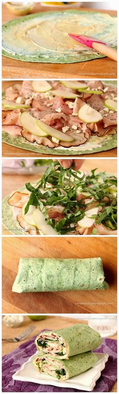 Ham, Apple and Blue Cheese Wraps - maybe with feta instead?