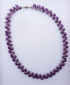 Beautiful necklace made from violet Czech pinch beads and silver seed beads :)