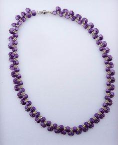 Beautiful necklace made from violet Czech pinch beads and silver seed beads :) Beautiful Necklaces, Beadwork, Seed Beads, Pendants, Bracelets, Earrings, Silver, Accessories, Ear Rings
