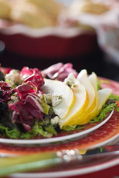 Radicchio and romaine salad with pears, dried cherries and blue cheese vinaigrette