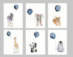 Nursery print set, set of six, Navy nursery, boys wall art, baby boy nursery, watercolor nursery, baby animal art #babynurserydecor