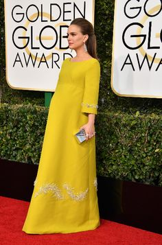 Natalie Portman took fabulous maternity wear to the next level with this yellow embellished Prada gown at the 2017 Golden Globe Awards.