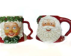 Mr & Mrs Santa Claus Mugs Vintage 1991 Possible Dreams Ltd Taiwan Large Ceramic Holiday Decor