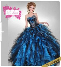 2014 new black and Blue quince dresses with Ruffles P823