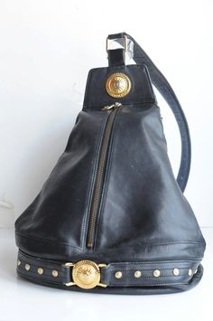 6ea9d62cb1 Items similar to Vintage Gianni Versace Leather Backpack on Etsy