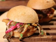 Chef Makini Howell's Barbecue Oyster Mushroom Sliders with Pickled Onions  #vegan #restaurant #reviews