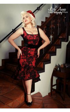 Folly Flair Mermaid Dress in Red with Black Rose Lace  by Deadly Dames  - See more at: http://www.pinupgirlclothing.com/folly-flair-black-and-red.html#sthash.FMiZ7bVA.dpuf