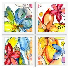 4 Piece Spring Fever -- Can have groups of four glaze tiles cropping  color theory  composition