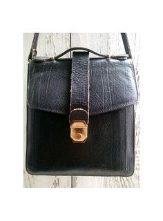 vintage MESSENGER  bag  BLACK  LEATHER by lesclodettes on Etsy, $45.00