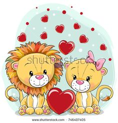 Imagens, fotos stock e vetores similares de Cute Cartoon Tiger with hearts on a white background - 1018684624 Cartoon Tiger, Cute Cartoon Animals, Cute Animals, Background Heart, Baby Painting, Cute Lion, Kids Scrapbook, En Stock, Blue Backgrounds