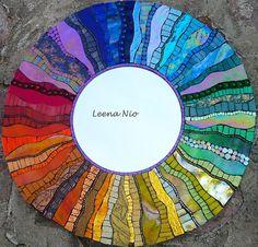 Stripes (can you tell I like rainbow mosaic? Stained Glass Mirror, Mirror Mosaic, Mosaic Diy, Mosaic Crafts, Mosaic Wall, Mosaic Glass, Mosaic Art Projects, Stained Glass Projects, L'art Du Vitrail