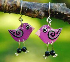 Purple bird earrings, hand painted enamel earrings, stainless steel earrigns, whimsical fun quirky j Bird Earrings, Drop Earrings, Copper Earrings, Round Earrings, Beaded Earrings, Purple Bird, Bird Free, Enamel Jewelry, Jewelry Box