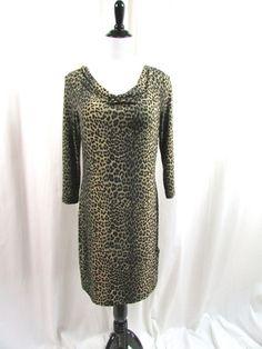 Michael Kors Leopard Animal Print Dress Size Medium M Career Stretch Excellent…