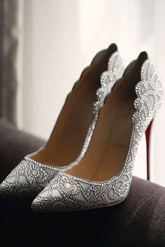 silver bling bridal shoes for weddings
