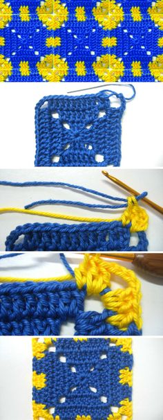 The Granny Square Pattern: a cute and charming granny square in eye-catching yellow and blue