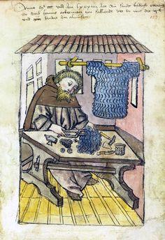 German mail armor maker, 15th century. Germanisches Nationalmuseum.