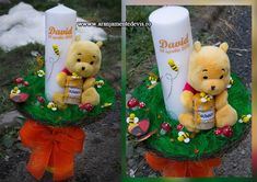 Lumanare botez cu tema Winnie the Pooh Baby Shower Souvenirs, Baptism Candle, Winnie The Pooh, Candles, Christmas Ornaments, Holiday Decor, Handmade, Crafts, Wedding