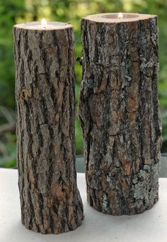 I'd like to make a few of these Rustic Tree Branch Candle Holders for the back yard. If your not handy with tools you can buy them here.