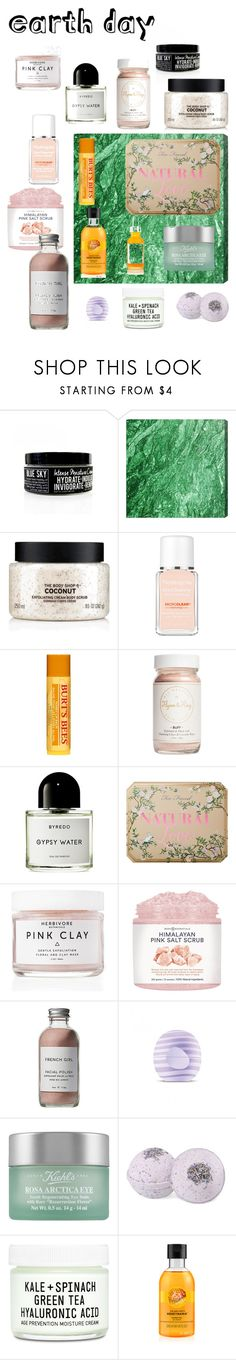 """Earth Day"" by cnsaurus ❤ liked on Polyvore featuring beauty, The Body Shop, Neutrogena, Burt's Bees, Flynn&King, Byredo, Too Faced Cosmetics, Herbivore, French Girl and Eos"