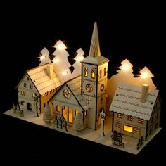 Noma Laser Cut Crafted Wooden 12 White LED Indoor Static Church And Two Houses With Illuminated Trees