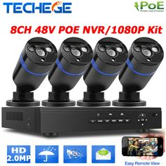 2.0MP outdoor CCTV system 48V 8ch POE NVR 4pcs 2MP IP camera array leds night vision outdoor street/home video surveillance kit #jewelry, #women, #men, #hats, #watches
