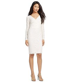 Lauren Ralph Lauren VNeck Sequin Lace Sheath Dress #Dillards