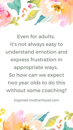 Even for adults, it's not always easy to understand emotion and express frustration in appropriate ways. So how can we expect two year olds to do this without some coaching? Practical Parenting, Parenting Hacks, 2 Year Old Tantrums, Kids Coping Skills, Terrible Twos, Cute Words, Feeling Frustrated, Positive Behavior, Two Year Olds