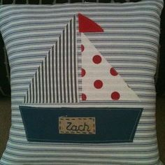 Gorgeous ahoy there sailing boat cushion - by cocoandmilo on madeit Sewing Crafts, Sewing Projects, Projects To Try, Applique Templates, Sewing Pillows, How To Make Pillows, Patch Quilt, Nautical Theme, Baby Sewing