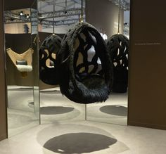 The fur cocoon chair is on display at Design Miami, as part of the Objets Nomade furniture collection. I wouldn't mind having this in my den. Swinging Chair, Furniture Collection, Home Accessories, Bean Bag Chair, Furniture Design, Lounge, Louis Vuitton, Design Miami, Crash Magazine