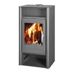 POD 10 wood burning stove. The Pod Ten has a steel body giving a maximum of 15kw of heat with a nominal output of 10kw. A contemporary design with a large ceramic glass front giving an excellent view of the fire, the stove has a beautifully styled door handle making this not only good looking but practical too with an high heat output. The design is based on the Pod Nine with the addition of a warming shelf and log store. The stove is available in matt grey.