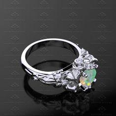Sapphire Studios  'Prism' 1.25ct Opal Natural Diamond Gold Sailor Moon Ring