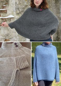 Free Knitting Pattern for Muscari Poncho - Pullover poncho with welted cuffs to keep your wrists warm and welted buttoned collar. Sizes XS/S (M/L) XL/XXL. Designed by Hanne Pjedsted for Ficolana. Available in English, French, German, and Danish. Pictured projects by rousette and faro
