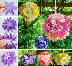 Paper Flower Kissing Balls Tutorial
