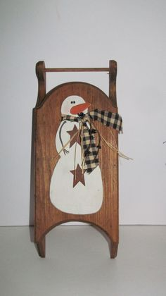 Rustic Primitive Snowman Wooden Sled Primitive Christmas Decor Rusty Stars And…