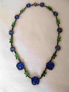 Czech Blue Rose Glass Necklace