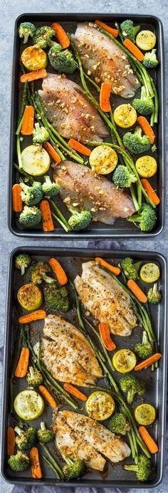 Healthy Sheet Pan Tilapia And Veggies Meal Prep Gimme - Tilapia Broccoli Asparagus Zucchini And Carrots All Baked In One Pan In Under Minutes This Quick Sheet Pan Dinner Is Healthy And Loaded With The Flavors Of Garlic And Spices One Pan Dinners H Talapia Recipes Healthy, Healthy Recipes, Healthy Snacks, Clean Eating Snacks, Healthy Eating, Seafood Recipes, Cooking Recipes, Cooking Tips, Snacks Sains