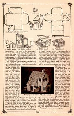 """Plush Possum Studio: Family Fun Project: A """"Modeltown"""" Villa Out of Paper Christmas Village Houses, Putz Houses, Christmas Villages, Christmas Home, Mini Houses, Xmas, Miniature Houses, Paper Toys, Paper Crafts"""