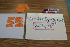 Combining Like Terms Activity to do in Pairs with Whiteboards