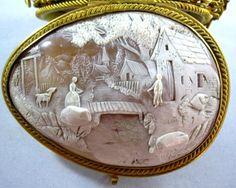 ⊙ Cameo Cupidity ⊙ Antique cameo depicting a village scene