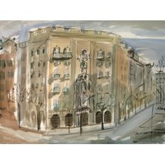 """Barcelona Art Market """"Bruc street in Barcelona"""" Technique: WATERCOLOR ON PAPER.  Artist: BENJAMI TOUS.  Size of set: 46 x 61 cm / 18.1 x 24 inches #painting"""