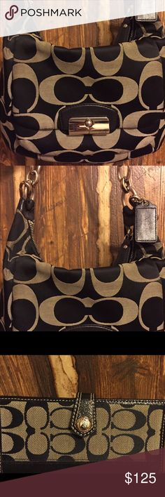 Coach Kristin black grey shoulder bag with wallet Measures 13x10x3, 10 strap drop. authentic coach bag and wallet Coach Bags Shoulder Bags
