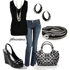 """Black & Silver"" by jklmnodavis on Polyvore"