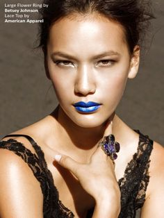 Blue metallic lip! Chloe looks stunning in this look photographed by Angelo Kritikos. For behind the scene pics, follow Angelo on Twitter @angelokritikos