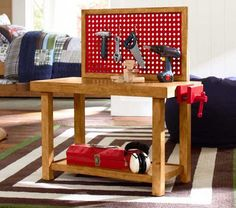 Kids Tool Bench from Pottery Barn, simpler than the first one i looked at, maybe I'll combine the 2